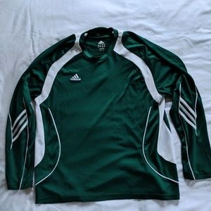 Adidas Green And White Long Sleeve Striped Shirt